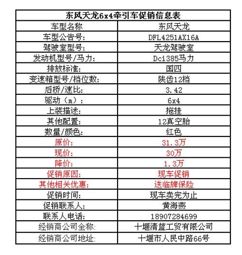 送临牌保险 十堰清蓝东风天龙6x4牵引车仅售30万
