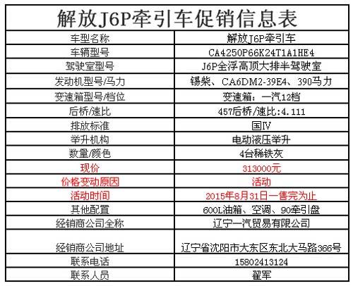 辽宁一汽解放j6p 390马力牵引车仅售31.3万